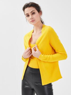 Cardigan manches longues jaune citron femme