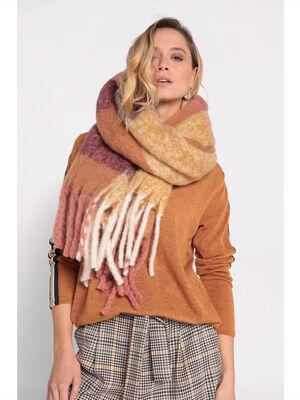 Plaid maille duveteuse camel femme