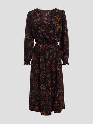 Robe longue evasee smockee noir femme