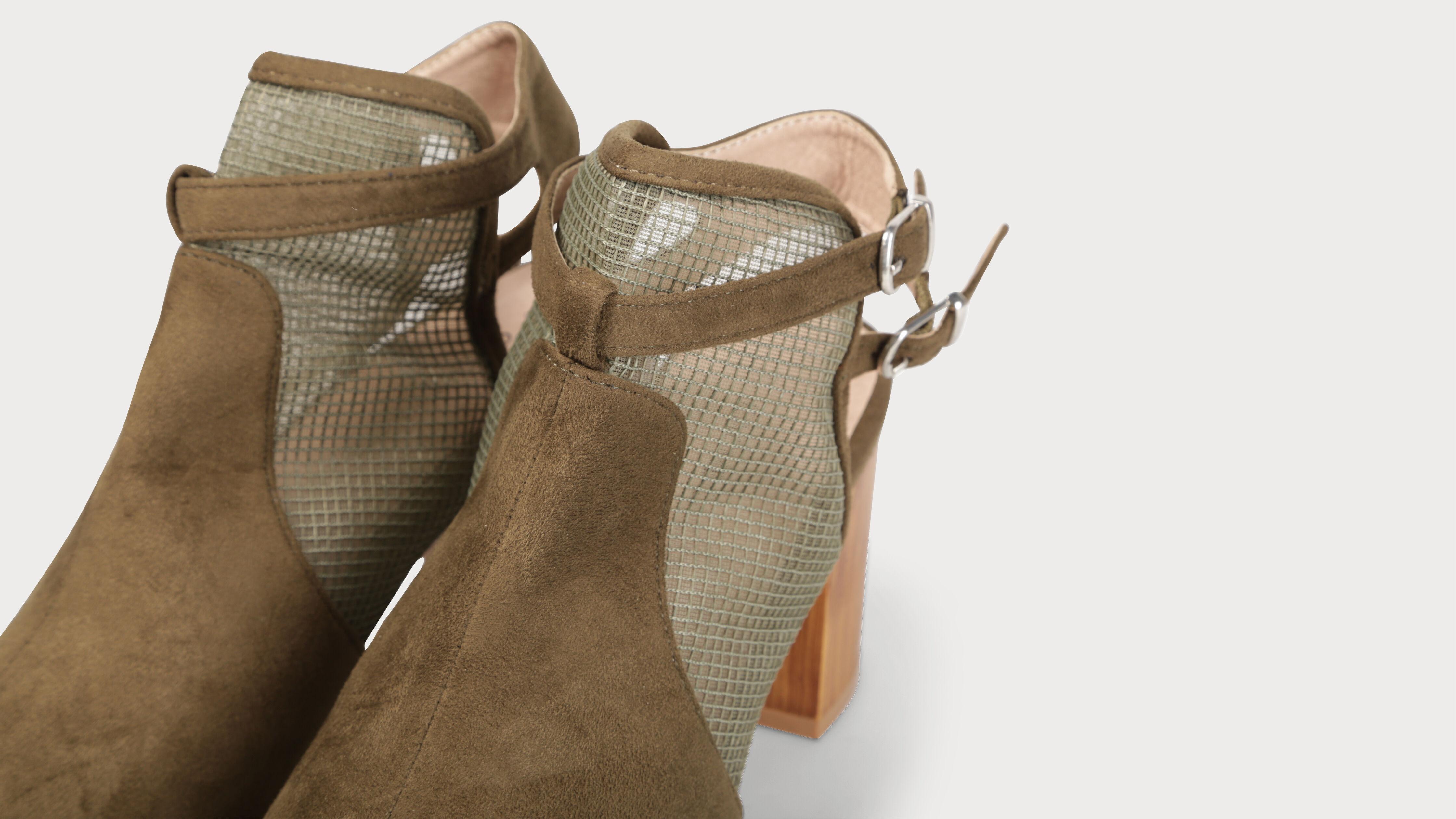 FemmeVib's Sandales Matière Carrés Talons Ajourée Kaki Vert XwOZiPTku