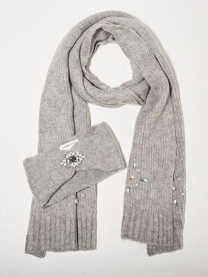 Lot bandeau et echarpe gris clair femme