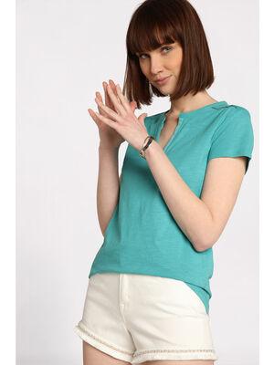 T shirt col tunisien bleu turquoise femme