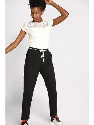 Pantalon droit ceinture noir femme