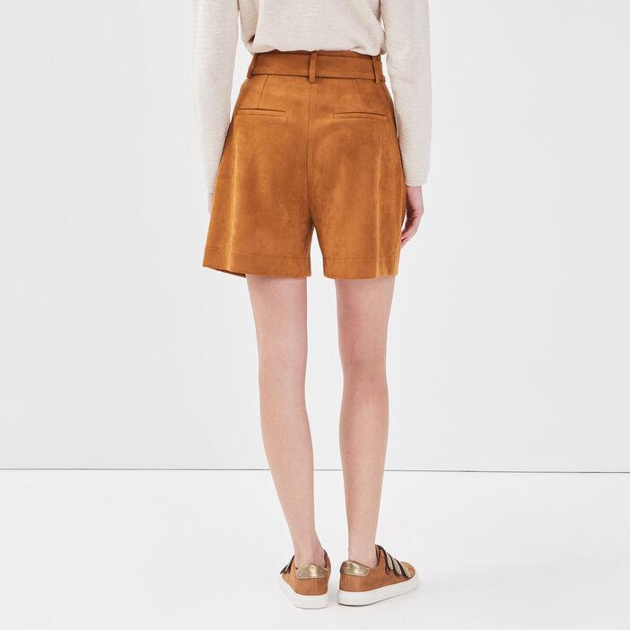 Short paperbag effet suédine marron cognac femme