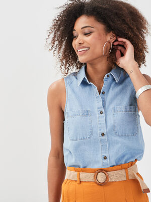 Chemise sans manches en jean denim double stone femme