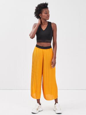 Pantalon ample fluide plisse jaune fonce femme