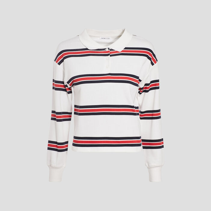 Polo manches longues blanc femme