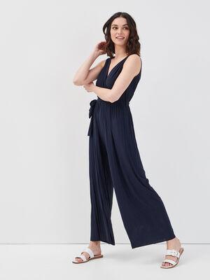 Combinaison pantalon fluide bleu marine femme