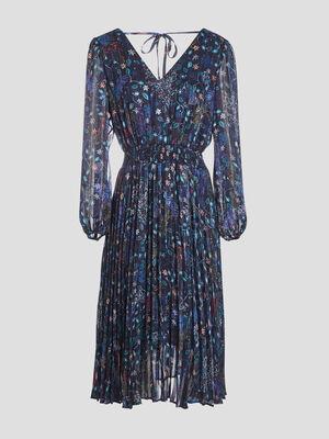 Robe longue evasee plissee bleu fonce femme