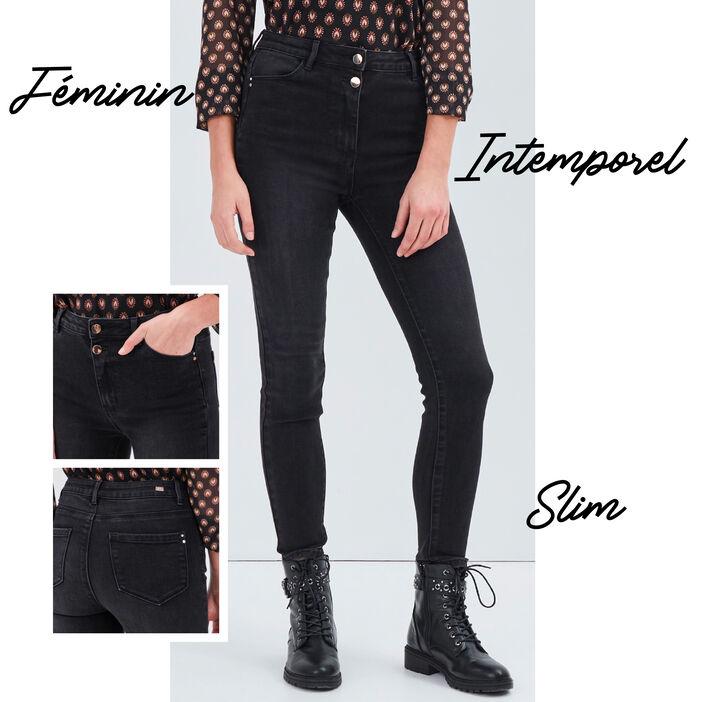 Jeans slim taille haute denim noir femme