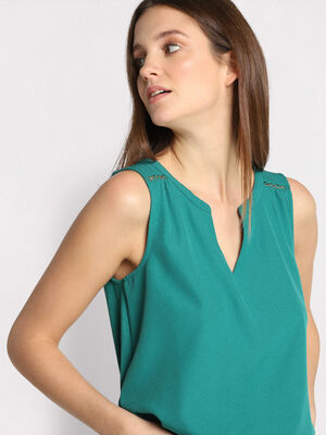 Debardeur bretelles larges vert emeraude femme