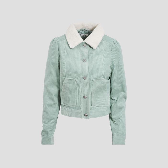 Veste droite velours côtelé vert pastel femme