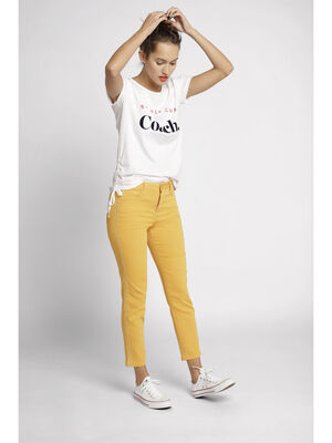 Pantalon raccourci slim jaune or femme