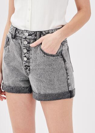 Short ample boutonne en jean denim gris femme