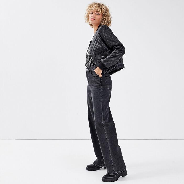 Veste droite aspect matelassé noir femme