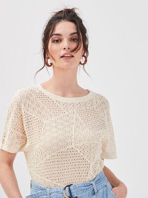 T shirt manches courtes ajoure ivoire femme