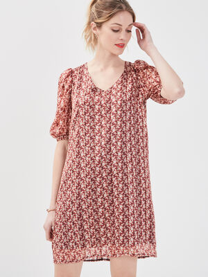 Robe droite manches corutes rouge femme