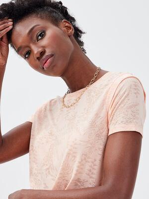 T shirt manches courtes rose saumon femme