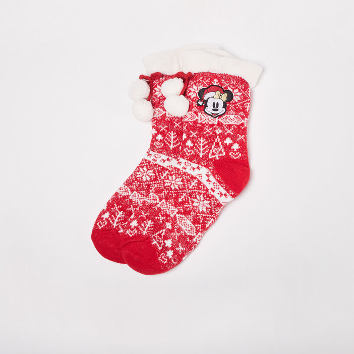Chaussettes Mickey rouge fluo femme