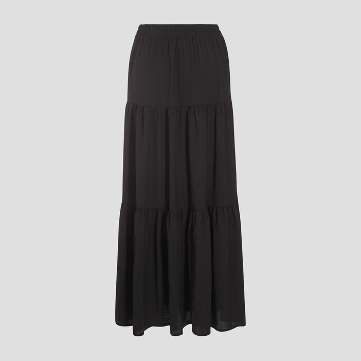 Jupe longue évasée noir femme