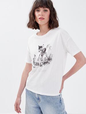 T shirt manches courtes Bambi ecru femme