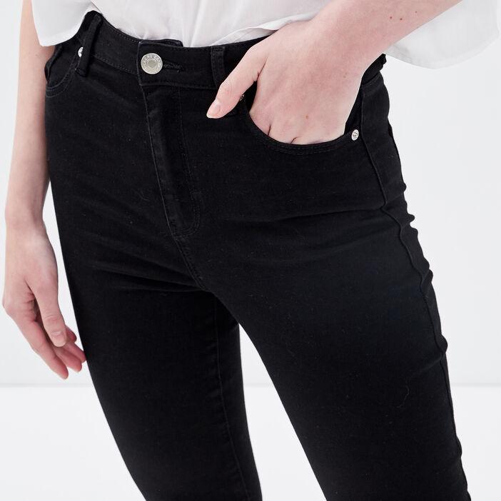 Jeans skinny 7/8ème destroy denim noir femme