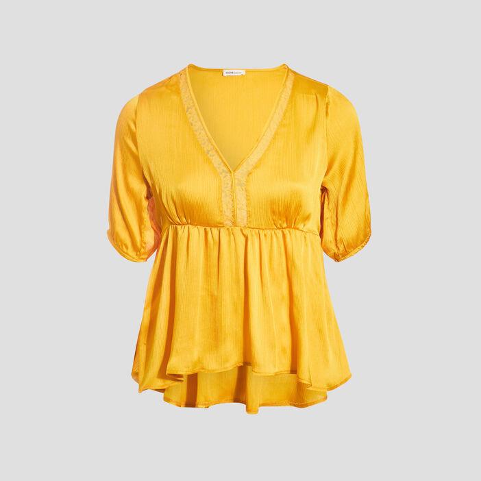 Blouse manches 3/4 jaune femme