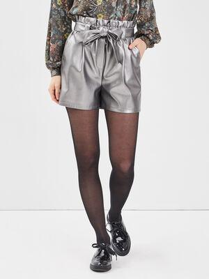 Short paperbag gris argent femme