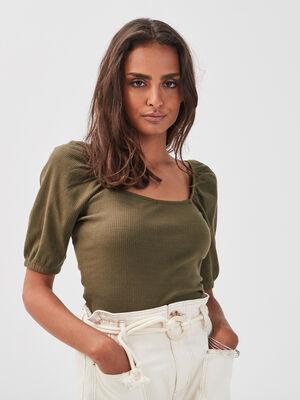 T shirt manches courtes cotele vert kaki femme