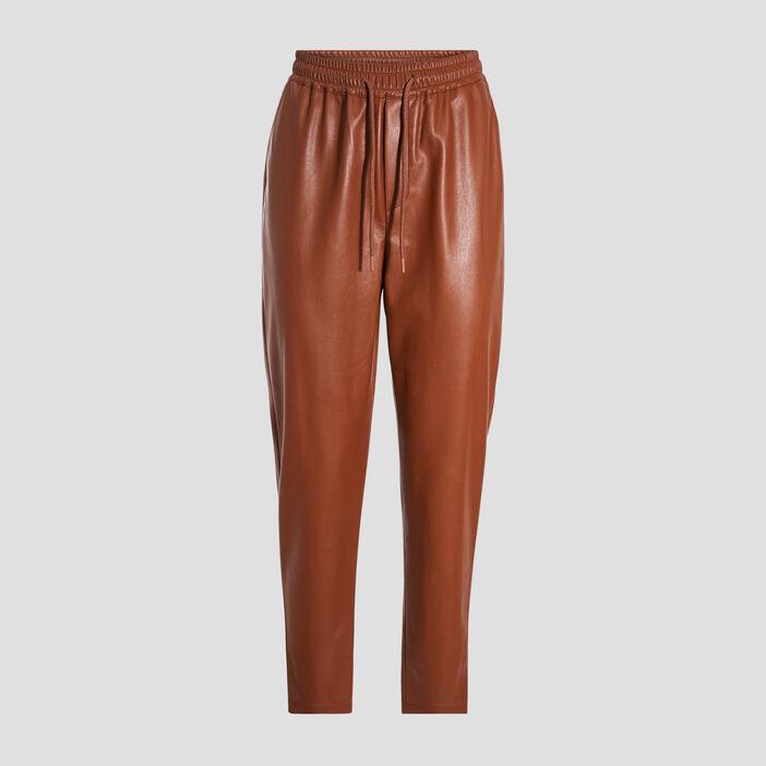 Pantalon jogging droit marron cognac femme