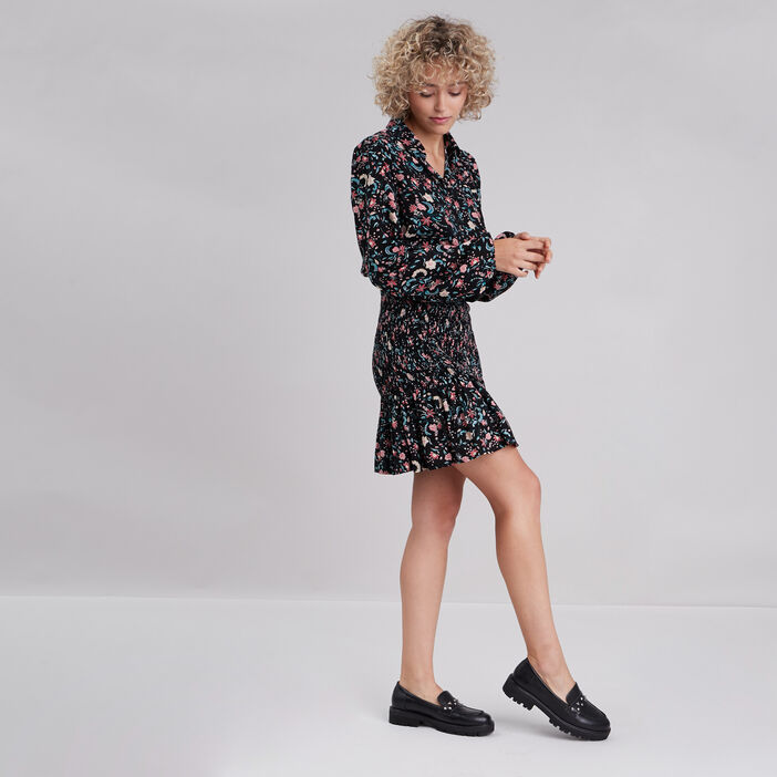 Robe ajustée smockée noir femme
