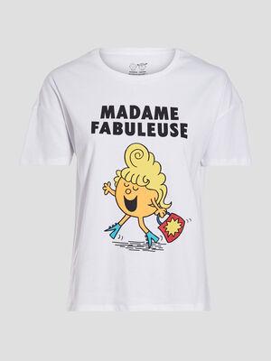 T shirt Monsieur Madame blanc femme