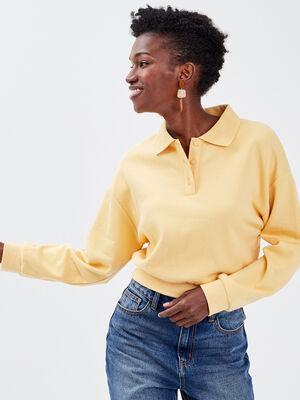 Sweat avec col polo jaune clair femme