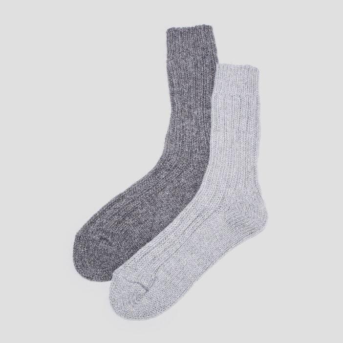 Chaussettes tricotées gris clair femme