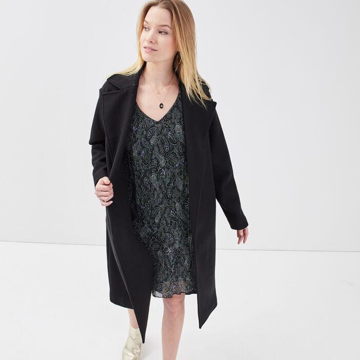 Manteau droit ceinturé noir femme