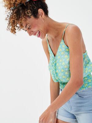 Blouse bretelles fines vert menthe femme