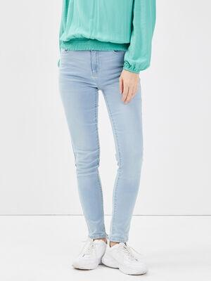 Jeans slim denim bleach femme