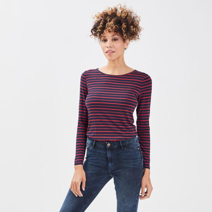 T-shirt uni à manches longues bleu marine femme