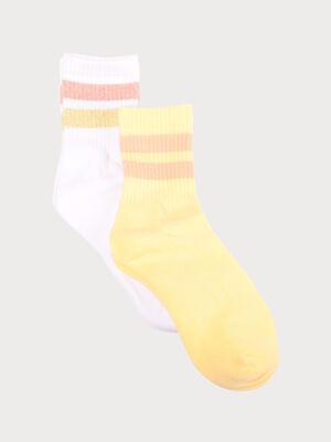 Lot 2 paires chaussettes jaune clair femme