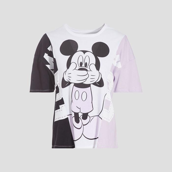 T-shirt manches courtes Mickey mauve femme