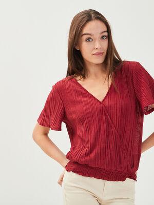 T shirt manches courtes bordeaux femme