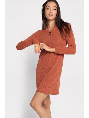 Robe pull droite col zippe orange femme
