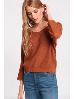 Pull manches 34 ajoure orange fonce femme