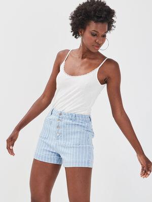 Short boutonne en jean denim bleach femme