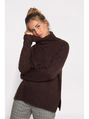 Pull manches longues col roule marron fonce femme