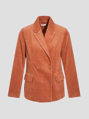 Veste blazer droite velours terracotta femme