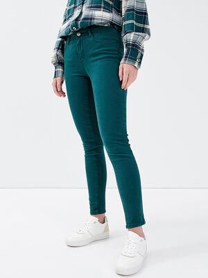 Jeans slim 5 poches vert fonce femme