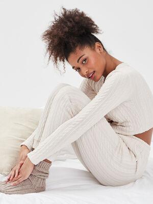 Pantalon droit sable femme