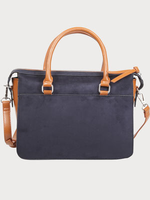 Grand sac rigide a liseres cloutes bleu marine femme
