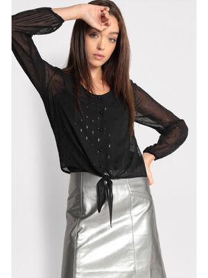 Chemise manches longues nouee noir femme